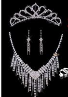 three piece/set  bride Necklace headdress earring jewelry sets  Wedding Necklace White Wedding Bride accessories