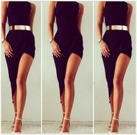 NEW 2014 HOT Women's Sexy&Club Nightclubs sexy Black oblique swing dress ladies' evening dress