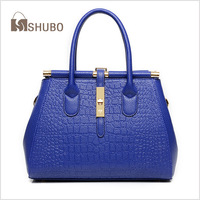 SHUBO Fashion Women's Tote Designer Brand Women Leather Handbags Crocodile Pattern Bags Women Shoulder Bags Lock Handbags SH138