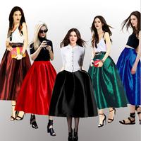 Plus Size Skirts Women saias femininas Vintage Pleated Midi Skirt A Line Ball Gown Party  Female High Street Long  saia longa