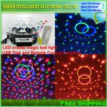 Из светодиодов RGB кристально магический шар эффект света, MP3 музыка этапа лазерный освещения лампа с USB диск и функция дистанционного управления
