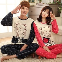 Free shipping lovely bear with dot print long-sleeve pajamas set cotton sleepwear for lovers fashion cartoon print sleepwear