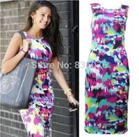 Brand Fashion Women New Desigual Apricot Sleeveless Round Neck Florals Print Pleated Dress 2014 Summer Clothing