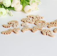 lovely little feet, cartoon wood button,7MM*22MM,50pcs/lot  NK6