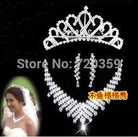 Free shipping!Bridal Jewelry -Nice Rhinestone Wedding Jewelry Sets with Tiara Necklace Earring33
