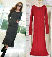 New Arrival Gray/Red/Beige Autumn Winter Robe Pullover Long Sleeves Knit Pull Femme Jumper Oversized Women Long Dress Sweater