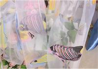 Sea fish sheer curtain panel fashion window screens decorative gauze fabric for kids room