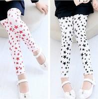 New HOT Baby Girls Fashion Pentagram Print Leggings Fit 2-7Years Children' cotton Legging Clothing Free Shipping