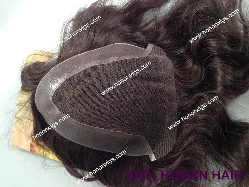 wholesale price freestyle natural wave human remy hair man toupee customize toupee(China (Mainland))
