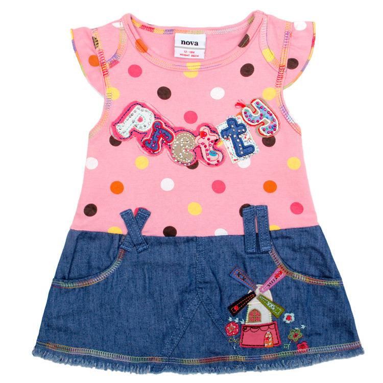 baby girl clothes brand Children's Lovely princess fantasia infantil Dots Dress,knit chiffon dress girl party,summer denim dress(China (Mainland))