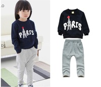 New spring & autumn girls clothing sets long sleeve letter pattern children's winter clothes sets  printing cotton top + pants