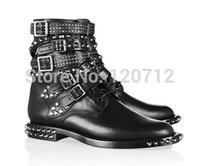 winter luxury brands women Rivets boots motorcycle biker shoes lacing platform shoes women brand shoes genuine leather hot shoes