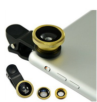 Universal 3in1 Clip-On Fish Eye Lens Wide Angle Macro Mobile Phone Lens For iPhone 4 5 Samsung  S4 S5 Gold  Free Shipping