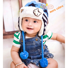 Children Winter Cute Knitted Hat Kids Warm Earflap Cap with Full Fur Lining Gorro Invierno for Boys Girls Crochet Baby Clothes(China (Mainland))