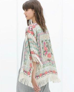 2015 новинка женщины кимоно кардиган старинные цветок печатных кисточкой блузки feМиниnas ...