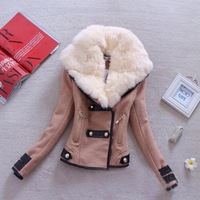 Hot Sale Winter Long Sleeve Fur Collar Turn down Collar Slim Women Jacket Wool  Thick Coat for Lady Freeshipping WZB0015