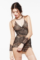 Women's Sexy Deep V Club Wear Hollow Out One-piece Dress, High Quality Luxury Lace Large Size Sundress,  Mesh Dress-P4341