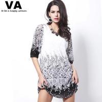 Blusas Femininas 2014 Plus Size T Shirt Women Sexy Half Sleeve Lace Floral Printing Blouses Fashion Clothes for Ladies W00134