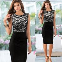 Elegant Womens Black Lace Pinup Floral Color Tunic Bodycon Shift Dress 2014