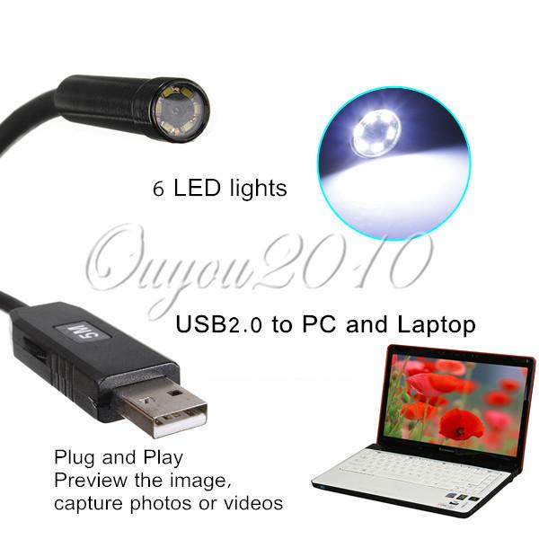 New Arrival Mini 5.5mm Dia USB Endoscope 1.3MP 720P HD Endoscope Waterproof Camera 6LED 1080*720 VGA COMS Camera Free Shipping(China (Mainland))