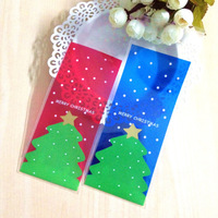 100pcs/lot,Plastic bags,red and blue christmas tree cookie packaging bags 7x16cm self adhesive bags  free shipping