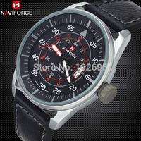2014 Brand NAVIFORCE military watch Vogue Leather 30m Waterproof Date Quartz Analog Clock Army watches Men sports Wrist Watch