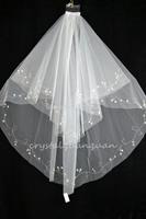 New 2 Layers White/ivory Handmade Edge Beaded Wedding Accessories Bridal Veils