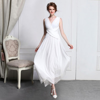 Elegant pleated chiffon sexy V-neck full dress ultralarge one-piece dress aesthetic romantic 9064