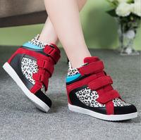 {D&T}2014 GZ Brand Women Sneakers,Black Leopard Patchwork Velcro Wedge Sneakers,Height Increasing Isabel Marant Sneakers Shoes