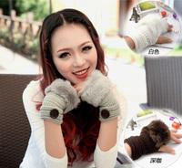 Hot selling winter warm button cute plush half gloves Angora gloves fleece glove women gloves free shipping