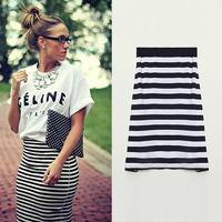 FanShou Free Shipping New 2014 Womens Skirts Spring Summer Fashion Striped Skirts Female Casual Cotton High Waist Skirt 5706