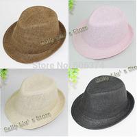 Free Shipping Baby Fedora Hat Solid Straw Dicer  Boy Fedora Fashion Summer Sun Hat travel Neccesity Hat Top Cap