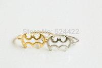 Free shipping 10pcs/lot Hillow BAT line shape ring, bat rings, simple bat line shape finger ring JZ-128