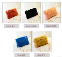 Autumn and winter belt faux bags 2014 women's handbag cute plush bag chain shoulder bag