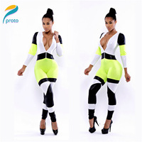 2014 Sexy V Neck Bandage Sleeve Patchwork Casual Rompers Pants Long Trousers Overalls Playsuit Womens Jumpsuits Bodysuit HW0241