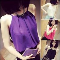 New 2014 Summer Women Blouses Fashion Tank Tops New Sexy Strap Double Layer Chiffon Sleeveless Vest S-XL