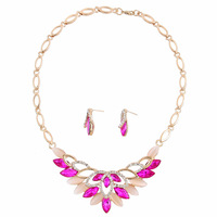 Min. order is 9usd(can mix) New 2014 Fashion Gold Plated Crystal Vintage Necklace Earrings Women Jewelry Set