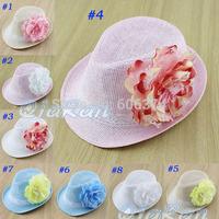 Retail New Baby Girl Fashion Fedora Hat Children Christmas Cap Kids Birthday Gift Topee Hot Flower Design Hat Free Shipping
