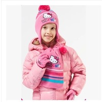 2015 winter newest free shipping 5set /lot  girls hello kitty  knitted scarf+hat+glove3pc set warm scarf ,hat and glove 4-10year