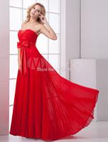 Empire Waist Red Chiffon Bow Sweetheart Women's Prom Dress Bridesmaid Dress Custom Made Party Dresses 2014