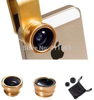 Universal Clip 3 in 1 Lens 0.67X Wide Angle Macro 180 Fish Eye camera Kit Set for iphone 5 6 plus Samsung S4 ipad mini
