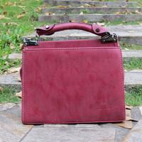 Casual vintage Square PU leather women handbag shoulder bag solid color handbag messenger bag PU box package 001
