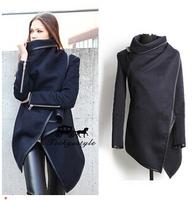 Fashion 2014 Winter Coat Women Female Warm Woollen Long Sleeve Overcoat Fashion Trench Wool Coats Black S-XXL
