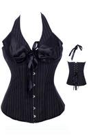 Free Shipping Royal Corset Vest Shoulder Strap Cup Shaper Black Stripe Drawing Waist Abdomen Corset Slim Waist Formal Dress