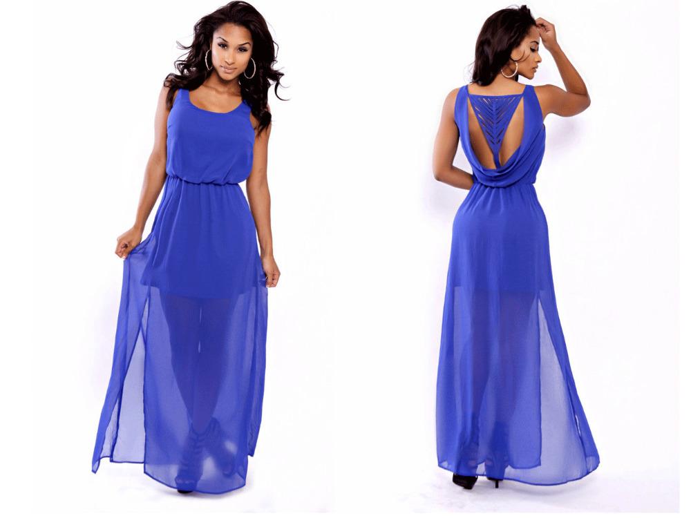 Royal Blue Casual Maxi Dress