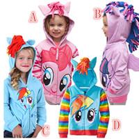 Pony Jacket Wholesale cartoon girls terry hooded zipper Coat with Wing Children Long-Sleeve Jacket Rainbow House Coat 20pcs DHL