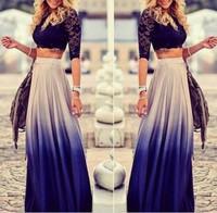 2014 AW Free shipping Fashion gradient color high waist skirt LQ4939