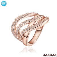 R671-B Wholesale High Quality Nickle Free Antiallergic New Fashion Jewelry 18K Gold PlatedRing