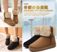 New 2014 Women warm winter shoes flat women boots platform black lady shoe fashion bootie woman snow boots Free shipping L2433