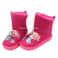 Girls Winter Snow Boots Children Warm Shoes Hot Pink Frozen Sister Anna Elsa Snowflake Anti-slip Snow Boots Christmas Gift